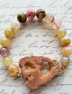 Dyed Pink Agate Crystal Stretch Bracelet